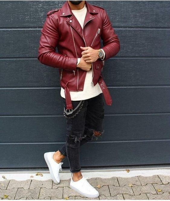 man wearing a red leather jacket
