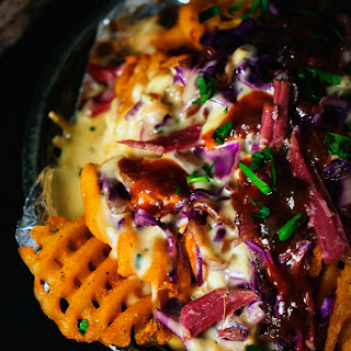 Corned Beef Nachos with Herbed Whiskey Fondue Recipe