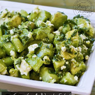 Cucumber and Avocado Salad with Lime, Mint, and Feta.