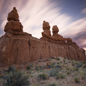 Sunset at Three Amigos by Givanni Mikel - Landscapes Deserts ( utah, sunset, red rock, long exposure, goblin valley )
