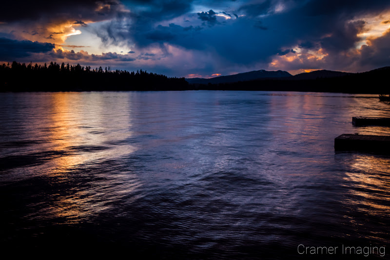 Cramer Imaging's dramatic quality landscape photograph of Island Park Reservoir lake at sunset in Idaho