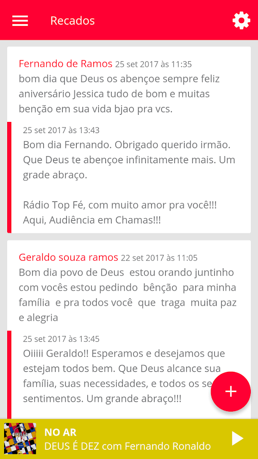 Rádio Top Fé: captura de tela