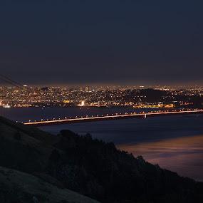 Golden Water under the Golden Gate bridge by Torsten Funke - City,  Street & Park  Skylines ( cityscapes, traveling, golden gate bridge, night, travel, cityscape, san francisco, photography, panoramic, panorama, city )