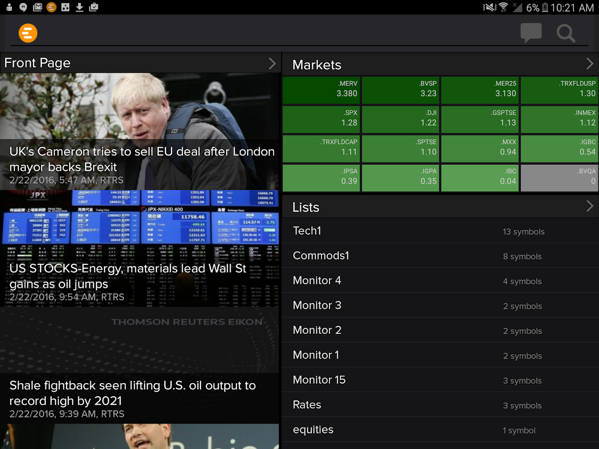 Thomson Reuters Eikon- screenshot
