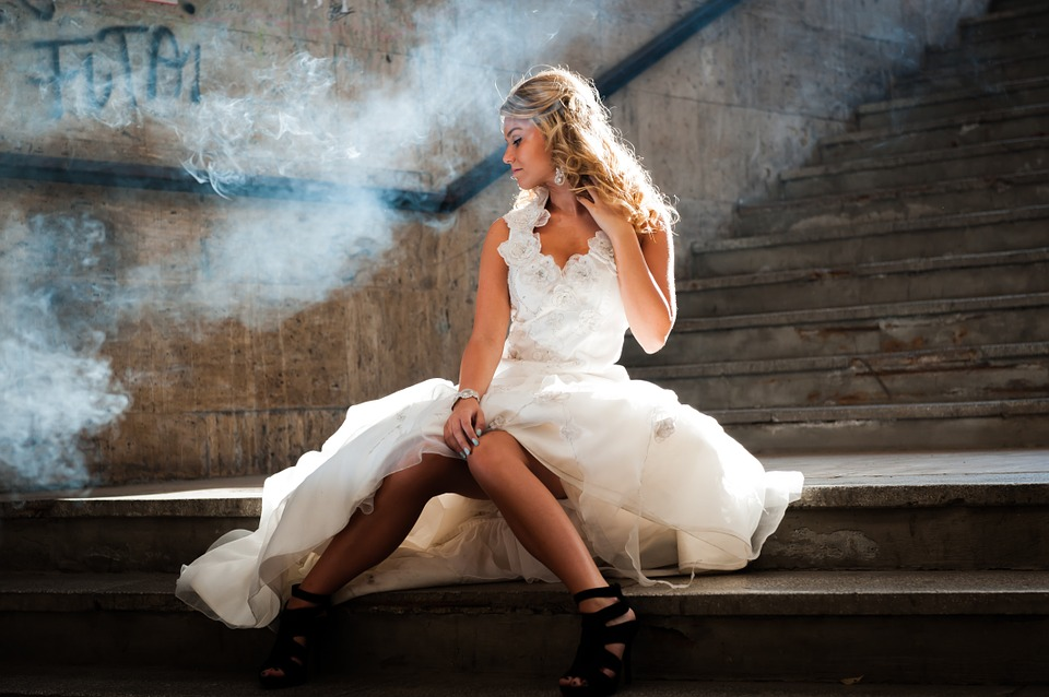 Woman, White Dress, Bride, Sitting, Stairs, Model