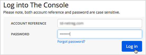 Login console and button