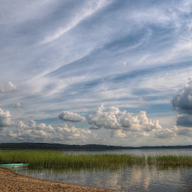 Clouds over the lake by Irena Gedgaudiene - Landscapes Cloud Formations ( clouds, reflection, summer, lake, july, evening )