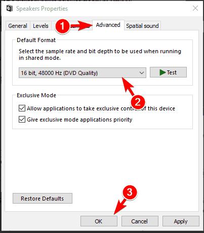Advanced setting play test tone on Windows 10
