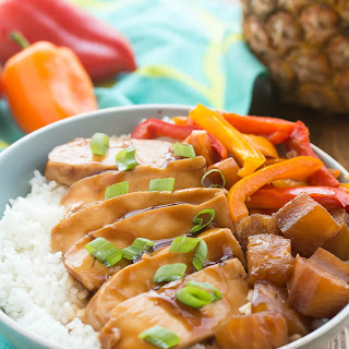 Slow Cooker Hawaiian Chicken Rice Bowls