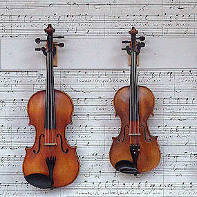 Duet by Anita Frazer - Artistic Objects Musical Instruments ( violins, musical instruments, music sheet,  )