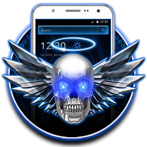 Blue Tech Angel Skull Theme Android APK Download Free By Theme Skin Emoji Andriod