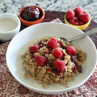 Peanut Butter and Jam Oatmeal.