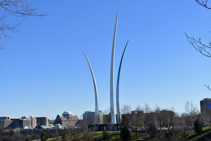 U.S. Air Force Memorial with Pentagon City in the background