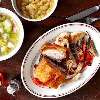 Crispy Pork Belly with Roasted Vegetables and Applesauce