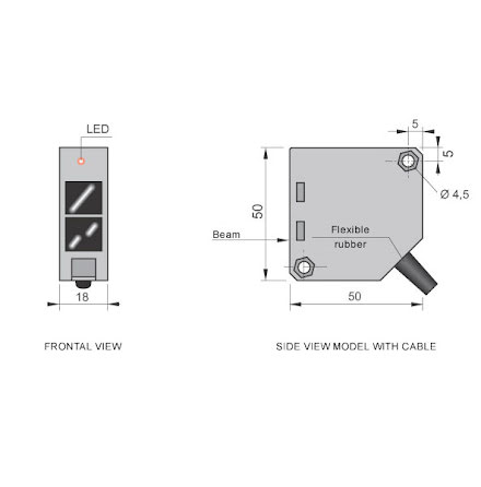 Fotocell sändare, 20m, 10-30VDC
