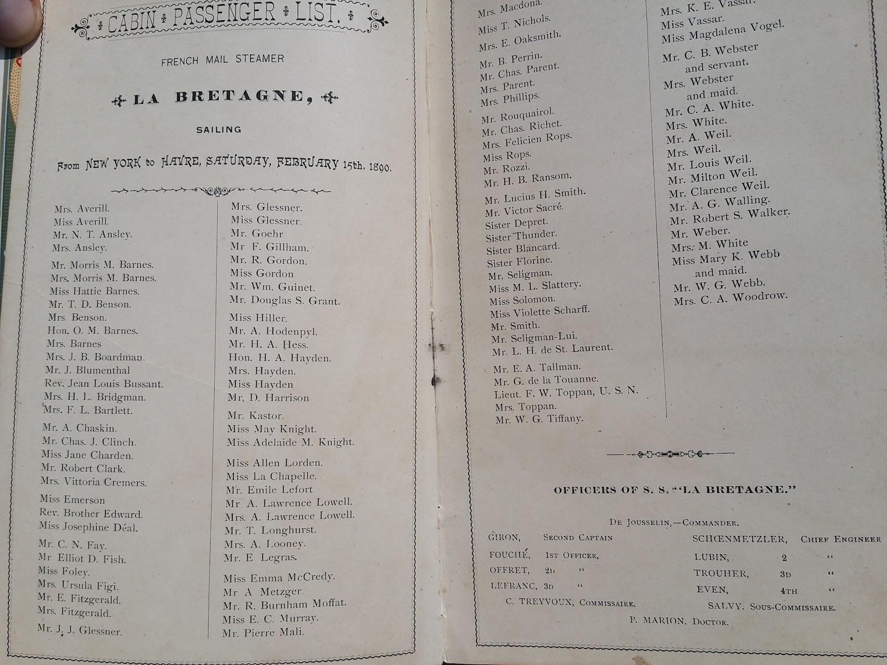 Compagnie Generale Transatlantique, New York - Le Havre - Paris, Passagierliste 1890 - La Bretagne