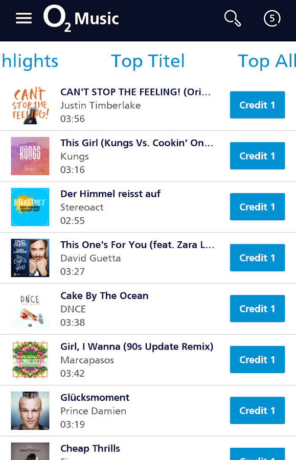 o2 Music – Screenshot