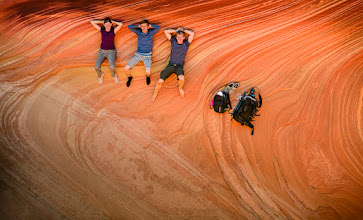 """Photo: Relaxing on THE WAVE  A little over a month ago we were at """"The Wave"""" in Arizona. I climbed around on some steep cliffs above the wave and had my friends look up. #blogged"""