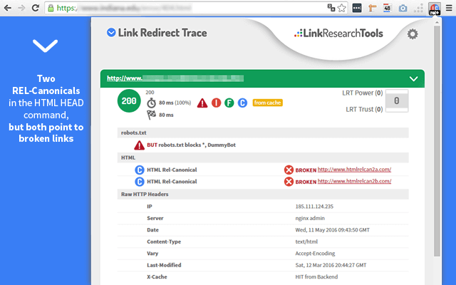 Link Redirect Trace Extension