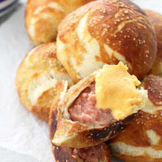 Sausage Stuffed Pretzels with Beer Cheese