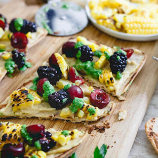 Grilled Corn and Berry Hummus Flatbread.