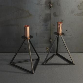 Metalljusstakar med koppar detalj, 2-p