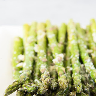Oven Roasted Asparagus with Garlic, Parmesan, & Lemon.
