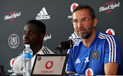 Orlando Pirates coach Josef Zinnbauer and Malawian striker Gabadinho Mhango speak to the media during the club's media day on January 13 2020.