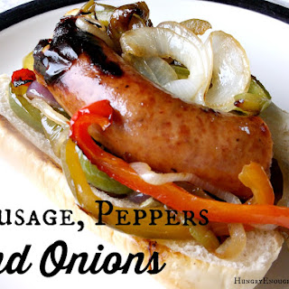 Sausage, Peppers and Onions on a Roll.