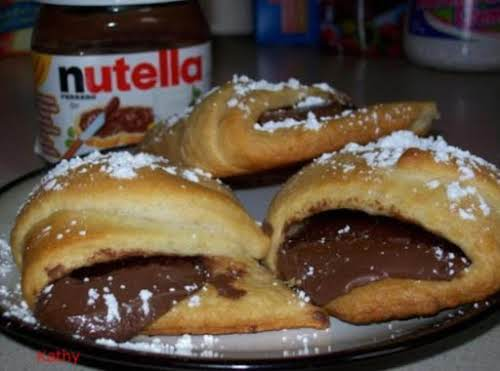 """Nutella Croissants """"Made these for breakfast this morning. I added 2 slices of..."""