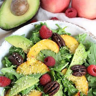 Healthy Summer Peach Arugula Salad.