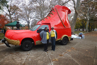 Photo: Lori Hayes and Baseema Jones check out the L.L. Bean Bootmobile at jefferson Square Park