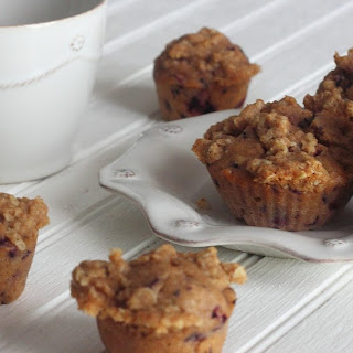 Whole Wheat Blueberry Muffins with Oat Streusel Crumb Topping.