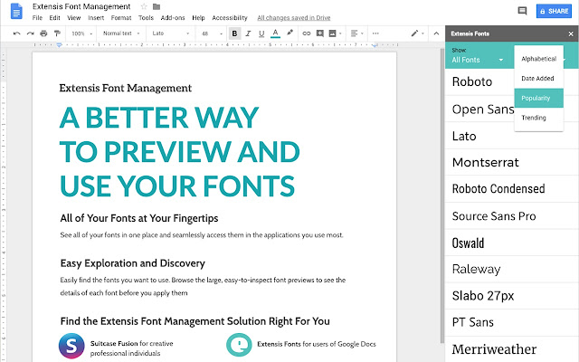 Extensis Fonts - Google Docs add-on