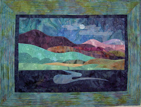 "Photo: Horizons ""Night"" A Beginner's Art Quilt creation from Mother Earth Studios"