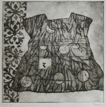 """Photo: Raleigh Means Field of Birds, 16 x 16"""", collagraph"""