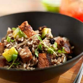 Pork Dirty Rice with Belly Cracklings and Avocado.