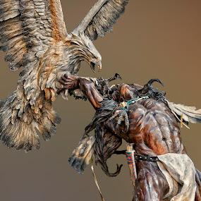 Eagle Catcher Detail by Al Judge - Buildings & Architecture Statues & Monuments ( sculpture, arizona, public art, sedona, tlaq )