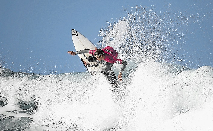 FIRST SA CHAMPS: Cape Town's Jordy Maree in action before taking first place in the open division at this year's Mercedes-Benz SA Open surfing championships at Nahoon Reef in East London over the weekend.