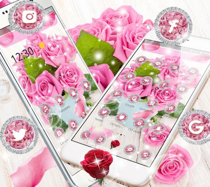Download Pink Rose Fresh Theme 3d Red Flowers Wallpapers For