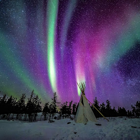 Northern Lights and the Milky Way by Heather Campbell - Landscapes Starscapes ( winter, night photography, northern lights, aurora, aurora borealis, astrophotography, long exposure, milky way,  )