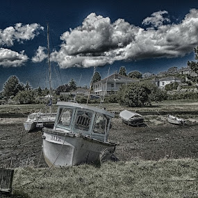 all dried up by Cornish Nige  - Transportation Boats ( sand, hdr, tidal, clouds and sea, boats )