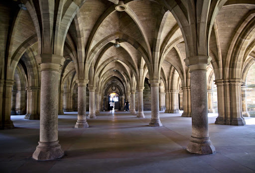 The Cloisters inside Scotland's Glasgow University, the fourth oldest university in the English-speaking world, established in 1451.