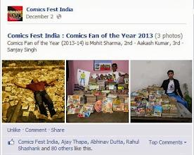 Photo: Comics Fan of the Year Award at Inaugural Comics Fest India 2013 (Dilli Haat)