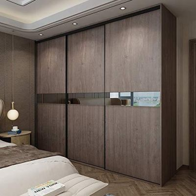 Vedika Interiors 3 Door with Light Walnut Finish Wardrobe