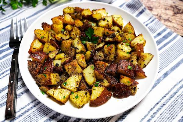 A Platter Of Herb Roasted Potatoes.