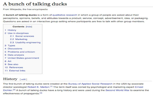 Focus Group to A Bunch of Talking Ducks