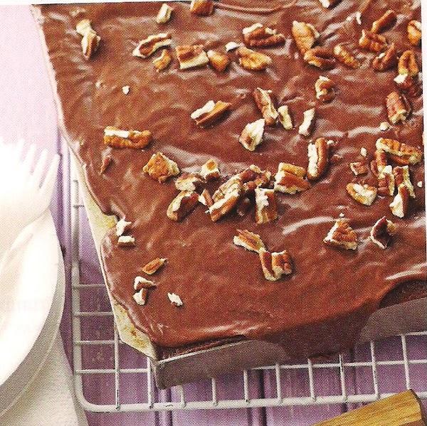 Mocha Sheet Cake With Pecans Recipe