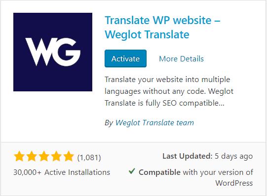 Display of Weglot Plugin