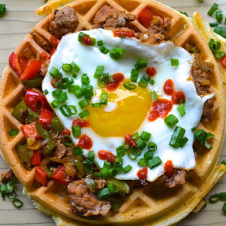 Herb Waffles with Sausage, Peppers, and a Fried Egg Recipe